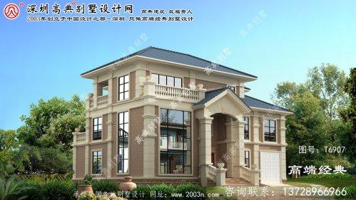 武川县三层别墅设计图纸洒脱、柔和