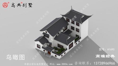 整体造型设计偏简约的中式庭院别墅
