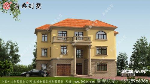 上层大落地窗和阳台相呼应,造型非常丰富