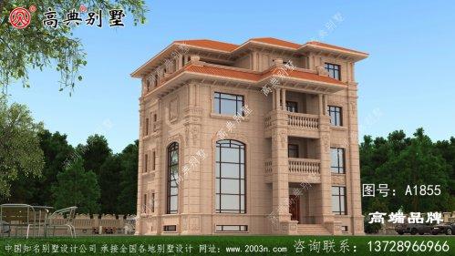 主墙外为统一的棕色瓷砖 ,色彩鲜艳简