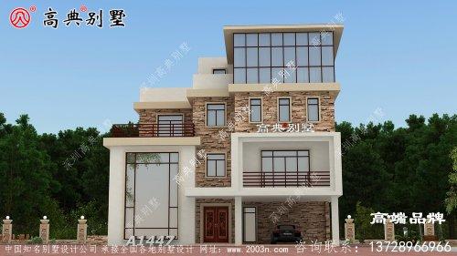 农村自建现代三层别墅设计图,个性十